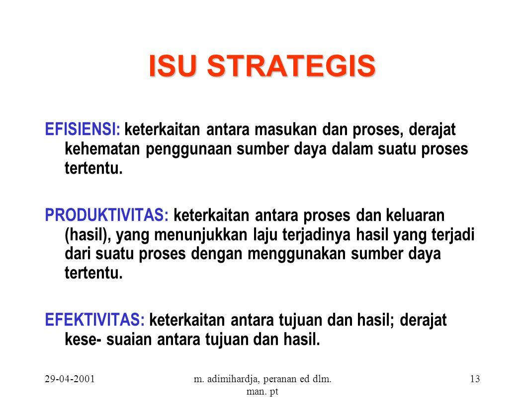29-04-2001m. adimihardja, peranan ed dlm. man. pt 13 ISU STRATEGIS EFISIENSI: keterkaitan antara masukan dan proses, derajat kehematan penggunaan sumb