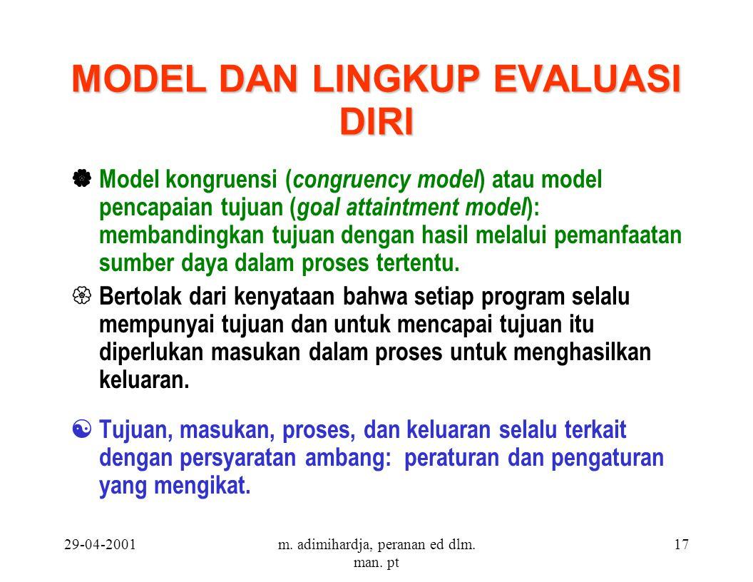 29-04-2001m. adimihardja, peranan ed dlm. man. pt 17 MODEL DAN LINGKUP EVALUASI DIRI  Model kongruensi ( congruency model ) atau model pencapaian tuj