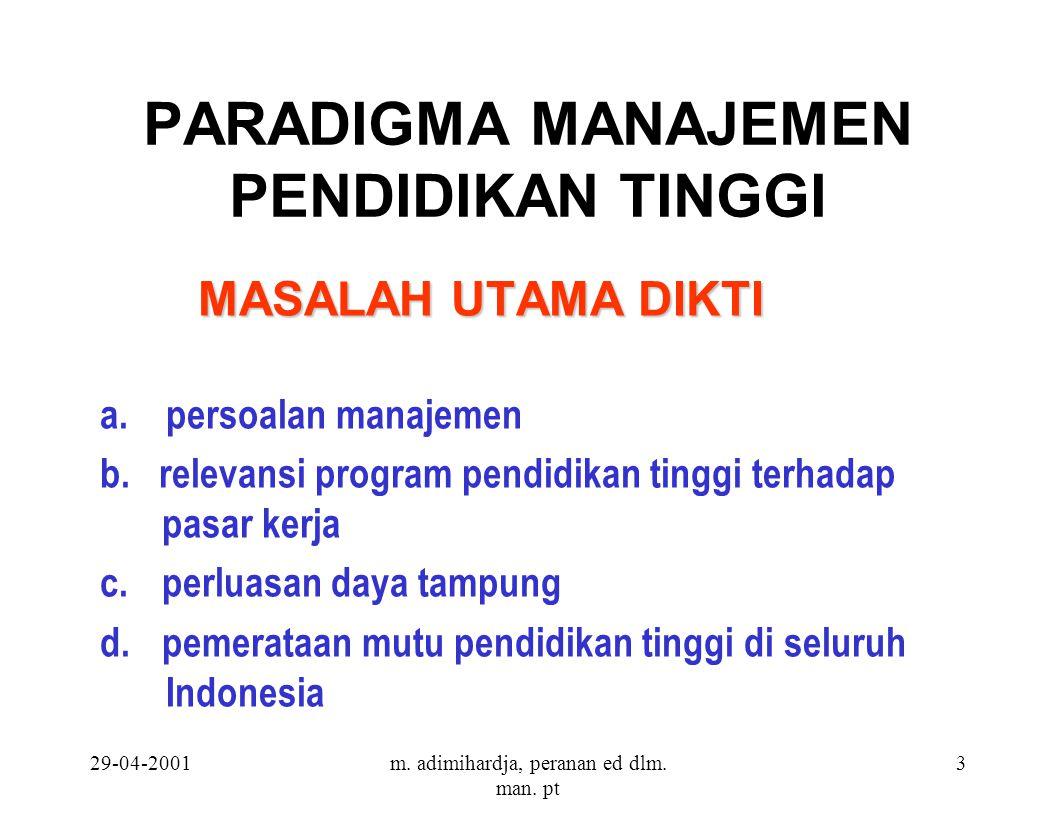 29-04-2001m. adimihardja, peranan ed dlm. man. pt 3 PARADIGMA MANAJEMEN PENDIDIKAN TINGGI MASALAH UTAMA DIKTI a. persoalan manajemen b. relevansi prog