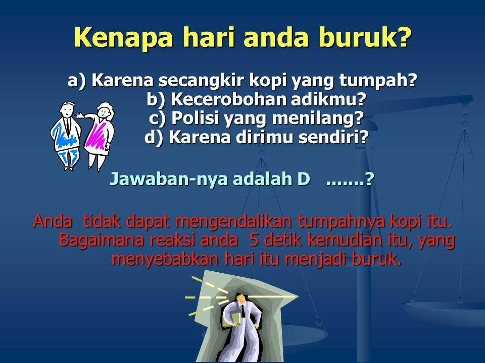 Kenapa hari anda buruk? a) Karena secangkir kopi yang tumpah? b) Kecerobohan adikmu? c) Polisi yang menilang? d) Karena dirimu sendiri? Jawaban-nya ad