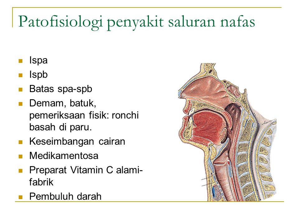 Patofisiologi penyakit saluran nafas Ispa Ispb Batas spa-spb Demam, batuk, pemeriksaan fisik: ronchi basah di paru. Keseimbangan cairan Medikamentosa