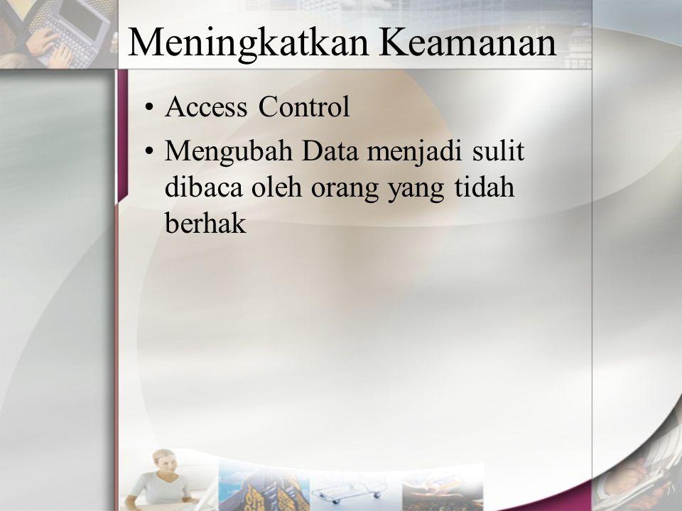 Meningkatkan Keamanan Access Control Mengubah Data menjadi sulit dibaca oleh orang yang tidah berhak