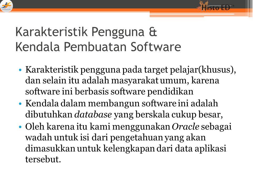 Karakteristik Pengguna & Kendala Pembuatan Software Karakteristik pengguna pada target pelajar(khusus), dan selain itu adalah masyarakat umum, karena