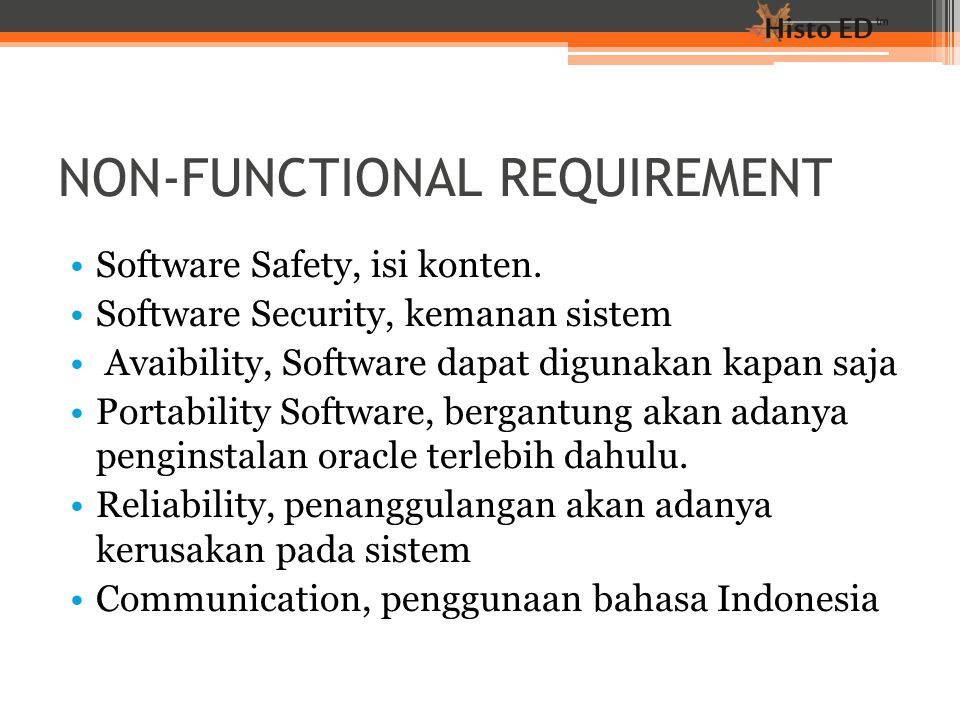 NON-FUNCTIONAL REQUIREMENT Software Safety, isi konten.
