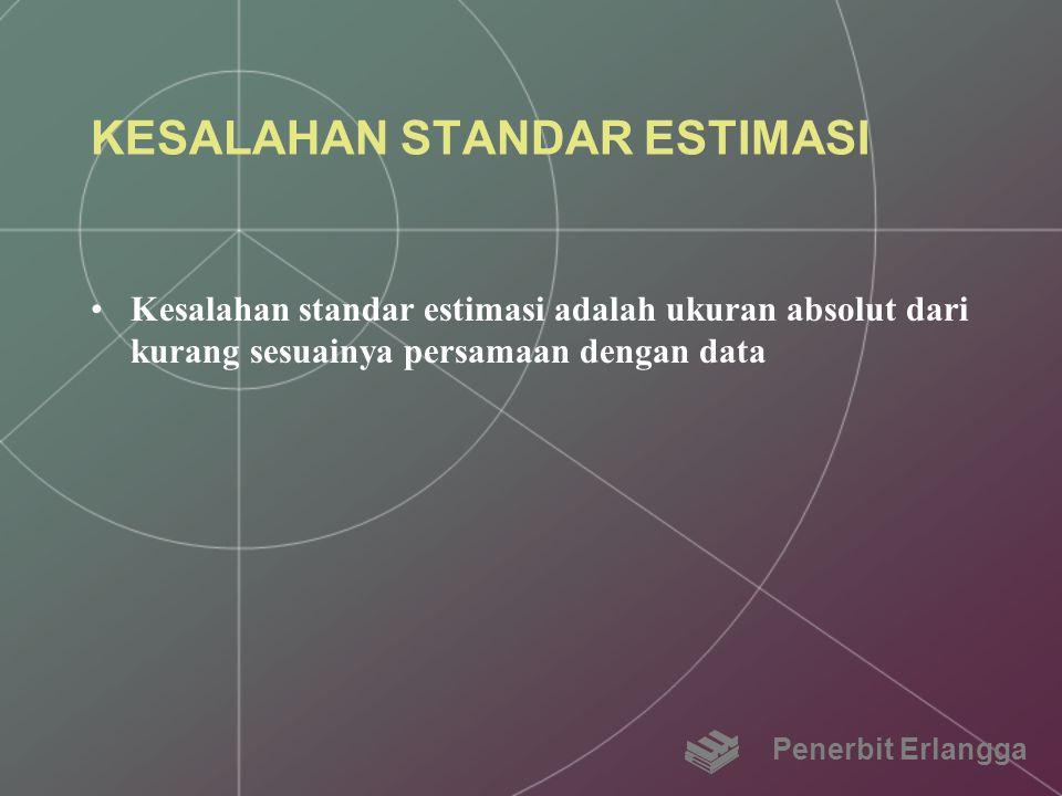 KESALAHAN STANDAR ESTIMASI Kesalahan standar estimasi adalah ukuran absolut dari kurang sesuainya persamaan dengan data Penerbit Erlangga