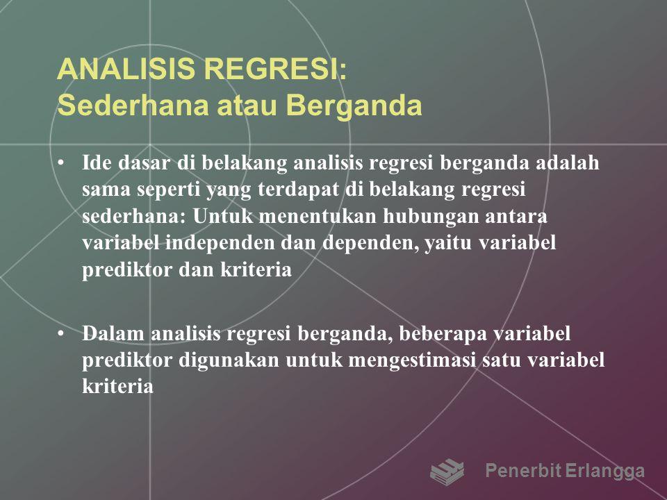 ANALISIS REGRESI: Sederhana atau Berganda Ide dasar di belakang analisis regresi berganda adalah sama seperti yang terdapat di belakang regresi sederh
