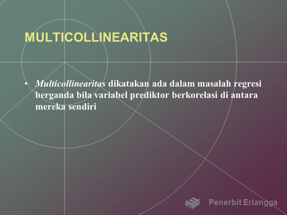 MULTICOLLINEARITAS Multicollinearitas dikatakan ada dalam masalah regresi berganda bila variabel prediktor berkorelasi di antara mereka sendiri Penerb
