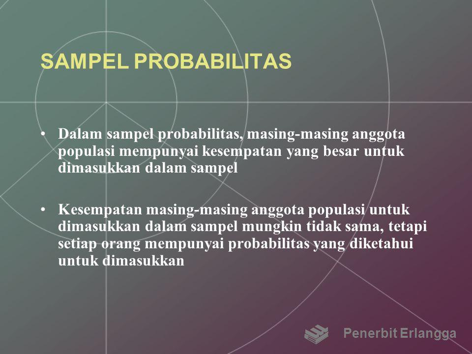 SAMPEL PROBABILITAS Dalam sampel probabilitas, masing-masing anggota populasi mempunyai kesempatan yang besar untuk dimasukkan dalam sampel Kesempatan