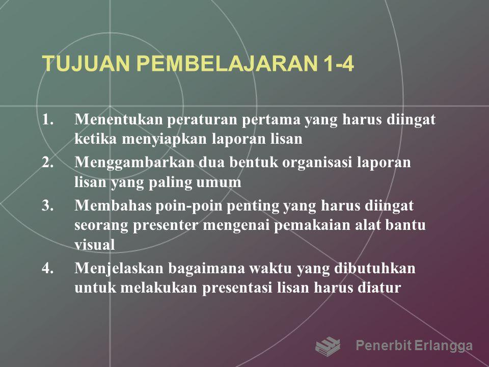 TUJUAN PEMBELAJARAN 1-4 1.Menentukan peraturan pertama yang harus diingat ketika menyiapkan laporan lisan 2.Menggambarkan dua bentuk organisasi lapora