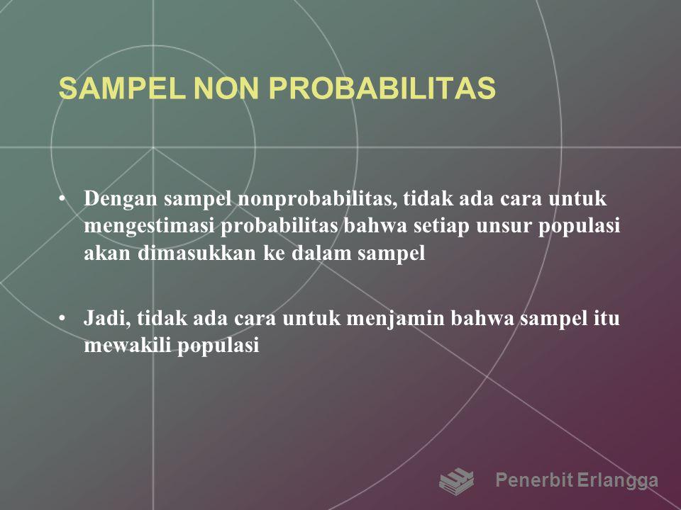 SAMPEL NON PROBABILITAS Dengan sampel nonprobabilitas, tidak ada cara untuk mengestimasi probabilitas bahwa setiap unsur populasi akan dimasukkan ke d