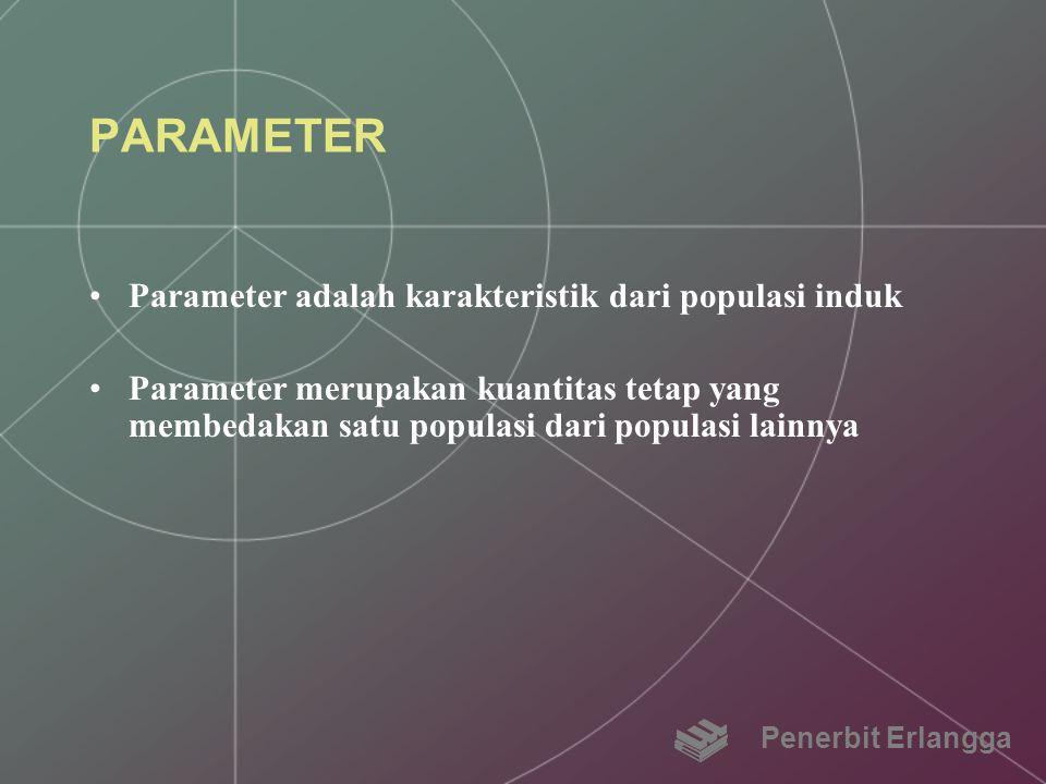 PARAMETER Parameter adalah karakteristik dari populasi induk Parameter merupakan kuantitas tetap yang membedakan satu populasi dari populasi lainnya P
