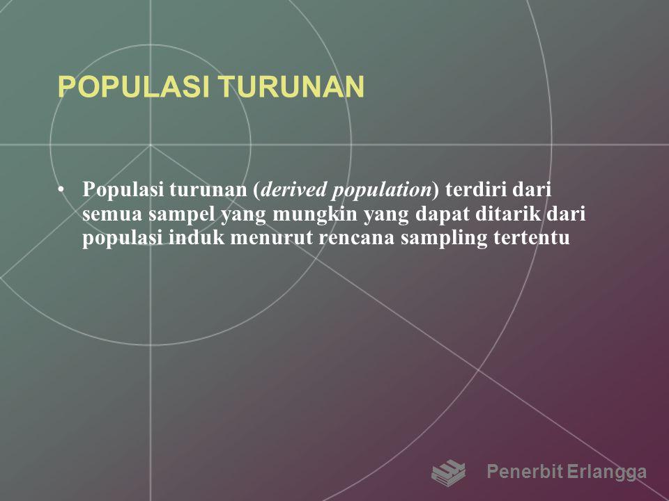 POPULASI TURUNAN Populasi turunan (derived population) terdiri dari semua sampel yang mungkin yang dapat ditarik dari populasi induk menurut rencana s