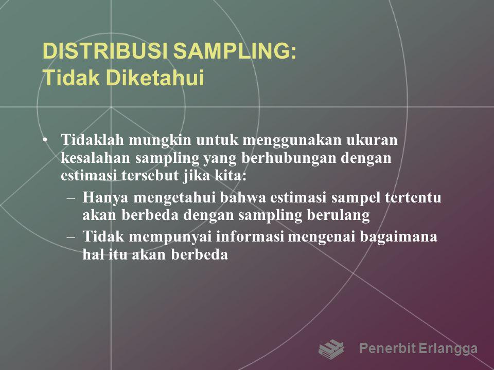 DISTRIBUSI SAMPLING: Tidak Diketahui Tidaklah mungkin untuk menggunakan ukuran kesalahan sampling yang berhubungan dengan estimasi tersebut jika kita: