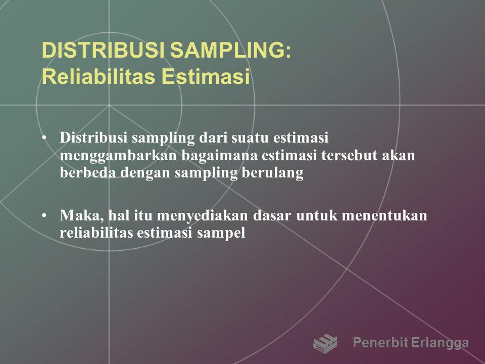 DISTRIBUSI SAMPLING: Reliabilitas Estimasi Distribusi sampling dari suatu estimasi menggambarkan bagaimana estimasi tersebut akan berbeda dengan sampl