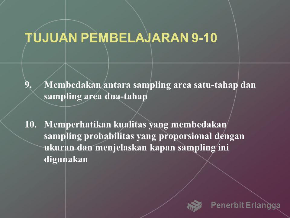 TUJUAN PEMBELAJARAN 9-10 9.Membedakan antara sampling area satu-tahap dan sampling area dua-tahap 10.Memperhatikan kualitas yang membedakan sampling p