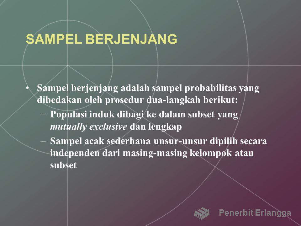 SAMPEL BERJENJANG Sampel berjenjang adalah sampel probabilitas yang dibedakan oleh prosedur dua-langkah berikut: –Populasi induk dibagi ke dalam subse