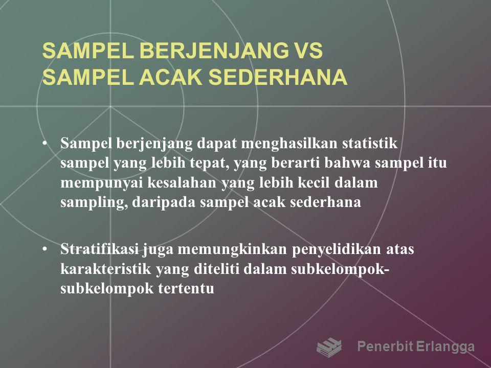 SAMPEL BERJENJANG VS SAMPEL ACAK SEDERHANA Sampel berjenjang dapat menghasilkan statistik sampel yang lebih tepat, yang berarti bahwa sampel itu mempu