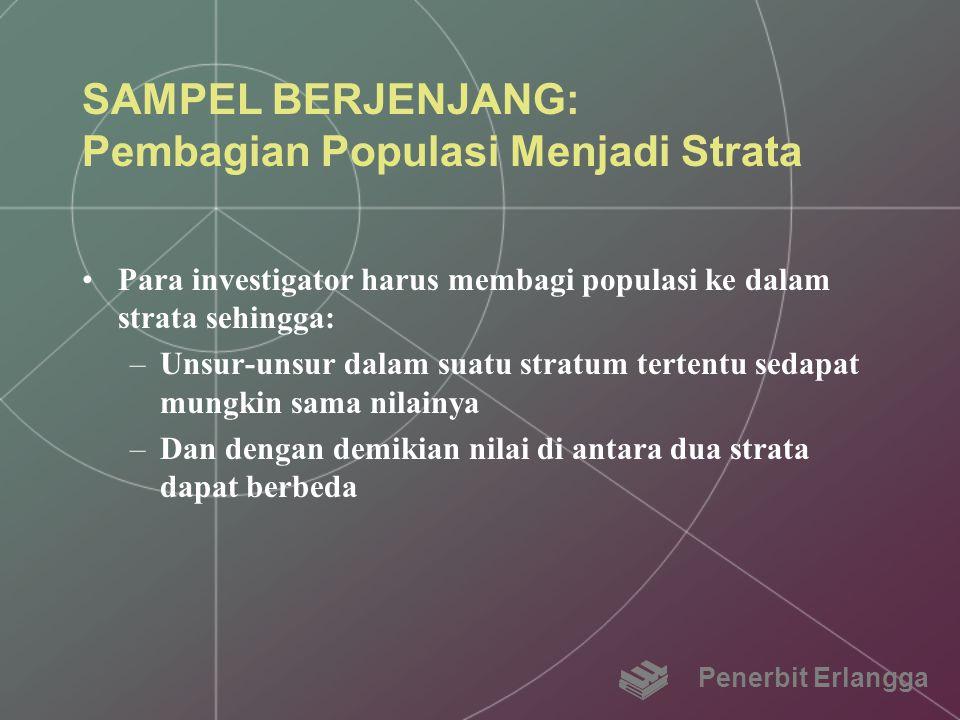 SAMPEL BERJENJANG: Pembagian Populasi Menjadi Strata Para investigator harus membagi populasi ke dalam strata sehingga: –Unsur-unsur dalam suatu strat