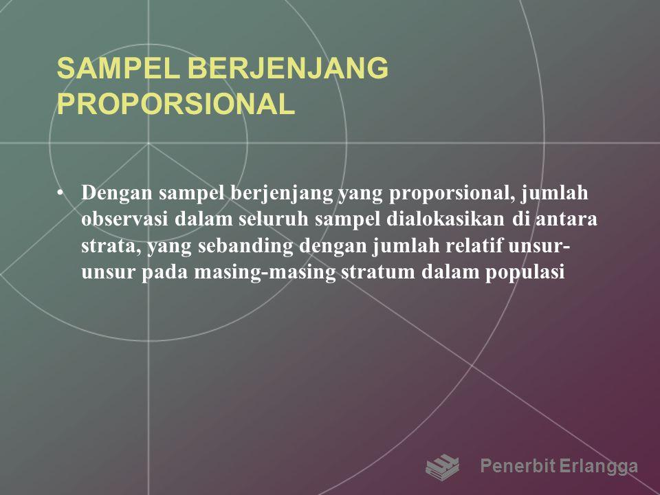 SAMPEL BERJENJANG PROPORSIONAL Dengan sampel berjenjang yang proporsional, jumlah observasi dalam seluruh sampel dialokasikan di antara strata, yang s