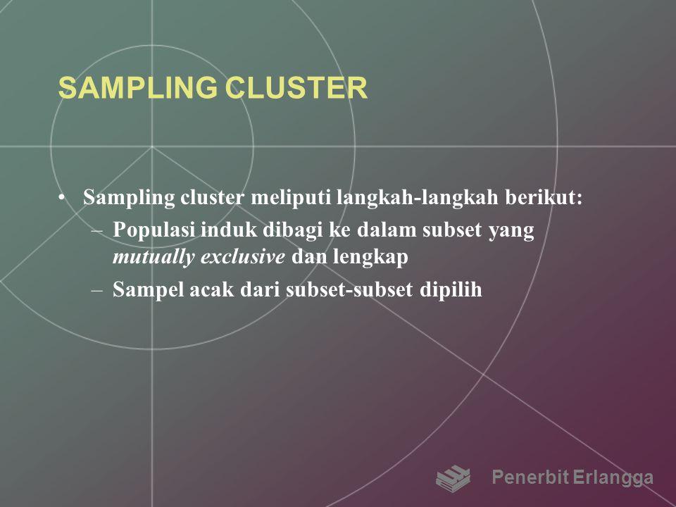 SAMPLING CLUSTER Sampling cluster meliputi langkah-langkah berikut: –Populasi induk dibagi ke dalam subset yang mutually exclusive dan lengkap –Sampel