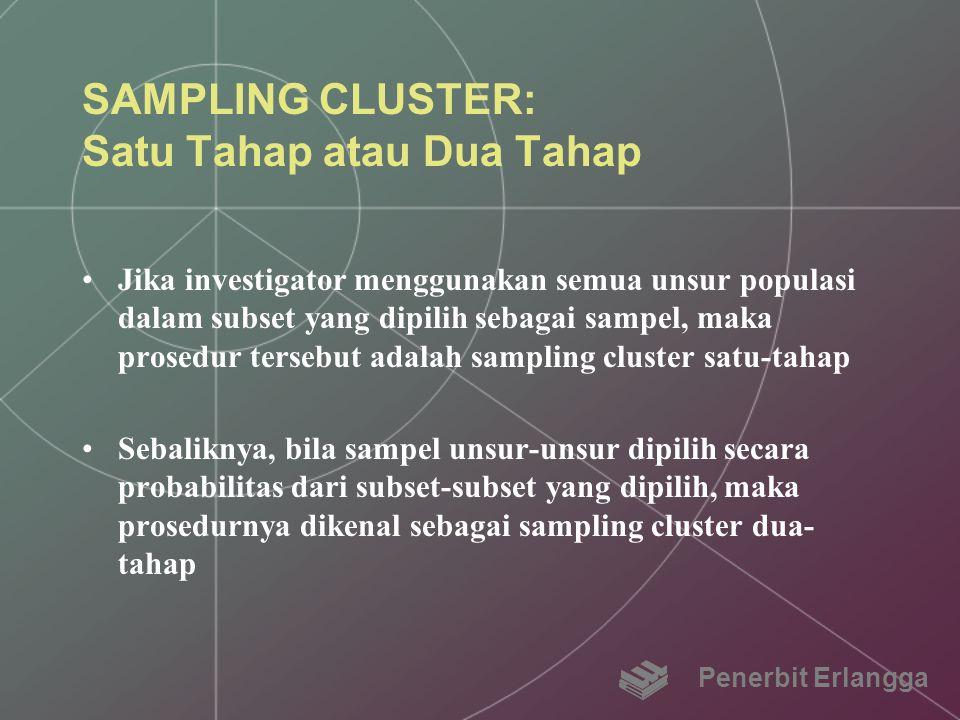 SAMPLING CLUSTER: Satu Tahap atau Dua Tahap Jika investigator menggunakan semua unsur populasi dalam subset yang dipilih sebagai sampel, maka prosedur