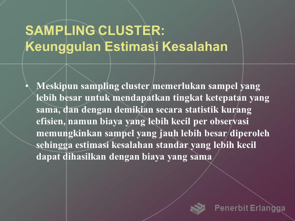 SAMPLING CLUSTER: Keunggulan Estimasi Kesalahan Meskipun sampling cluster memerlukan sampel yang lebih besar untuk mendapatkan tingkat ketepatan yang