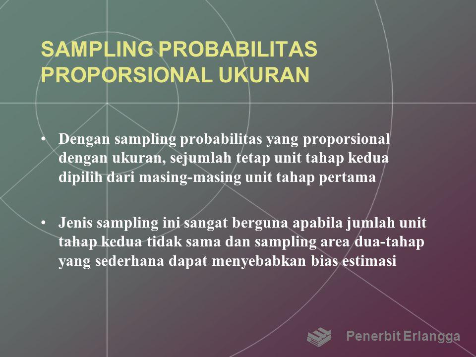 SAMPLING PROBABILITAS PROPORSIONAL UKURAN Dengan sampling probabilitas yang proporsional dengan ukuran, sejumlah tetap unit tahap kedua dipilih dari m