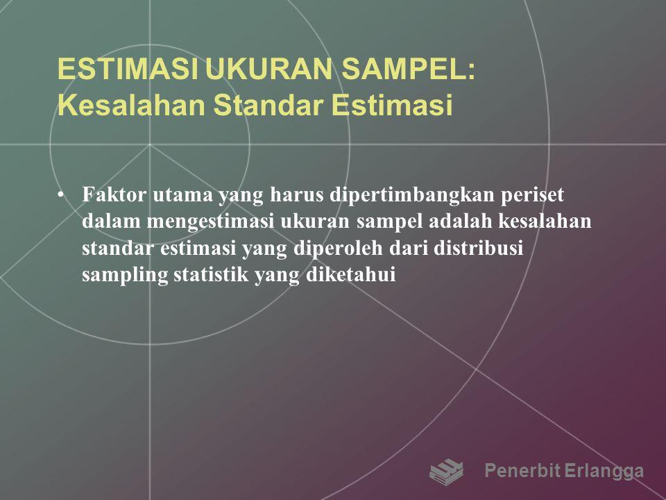 ESTIMASI UKURAN SAMPEL: Kesalahan Standar Estimasi Faktor utama yang harus dipertimbangkan periset dalam mengestimasi ukuran sampel adalah kesalahan s