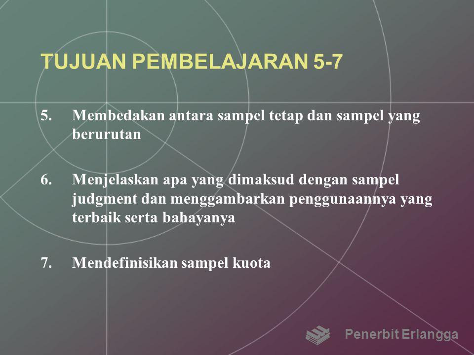 TUJUAN PEMBELAJARAN 5-7 5.Membedakan antara sampel tetap dan sampel yang berurutan 6.Menjelaskan apa yang dimaksud dengan sampel judgment dan menggamb