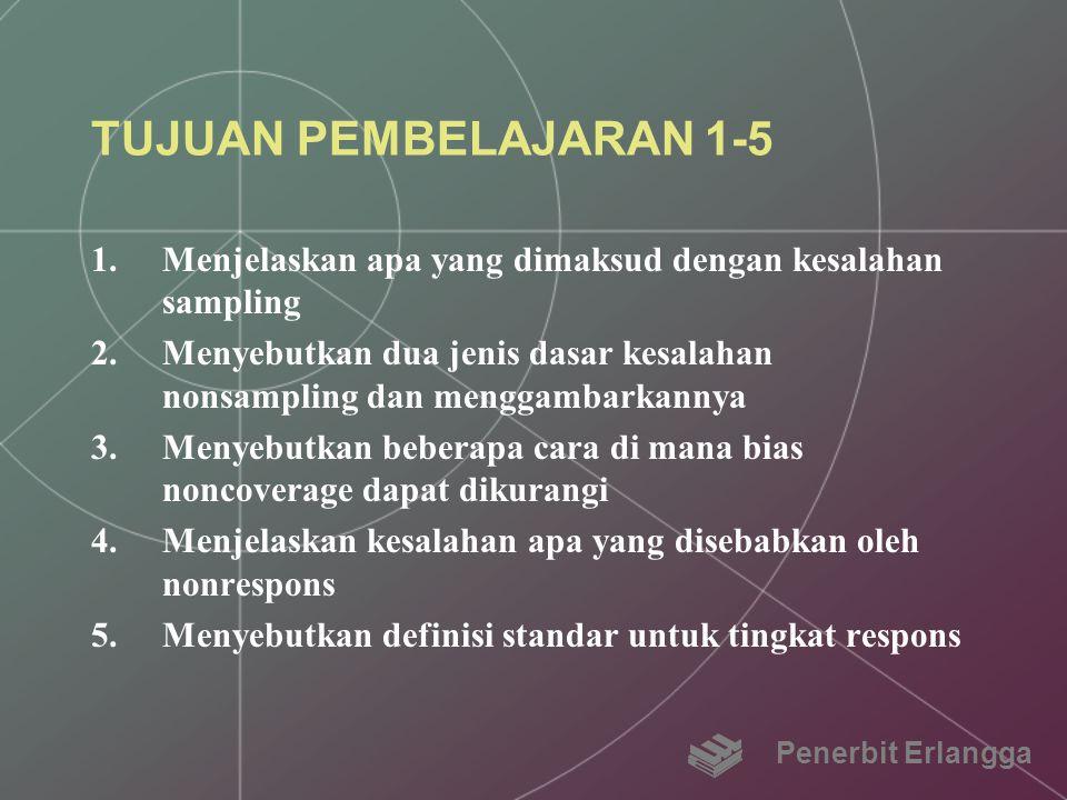 TUJUAN PEMBELAJARAN 1-5 1.Menjelaskan apa yang dimaksud dengan kesalahan sampling 2.Menyebutkan dua jenis dasar kesalahan nonsampling dan menggambarka