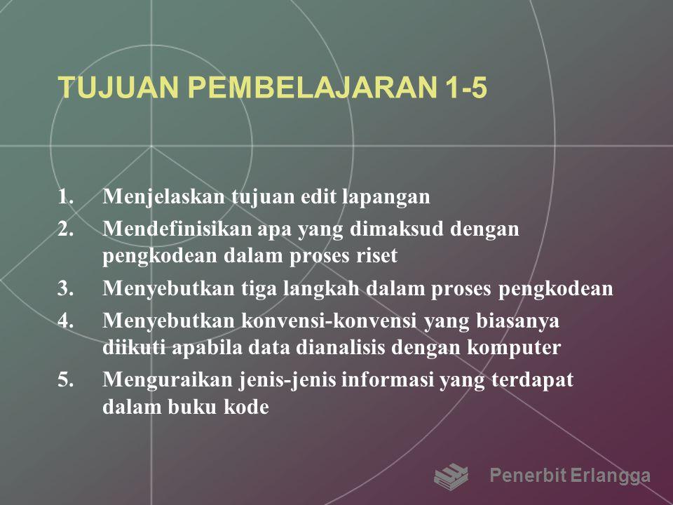 TUJUAN PEMBELAJARAN 1-5 1.Menjelaskan tujuan edit lapangan 2.Mendefinisikan apa yang dimaksud dengan pengkodean dalam proses riset 3.Menyebutkan tiga