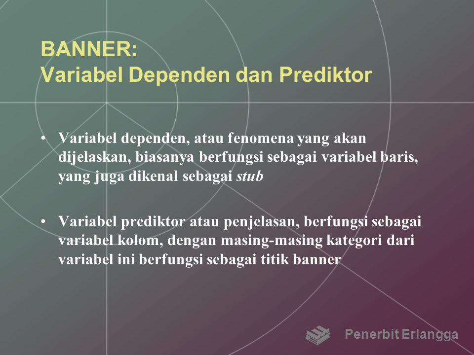 BANNER: Variabel Dependen dan Prediktor Variabel dependen, atau fenomena yang akan dijelaskan, biasanya berfungsi sebagai variabel baris, yang juga di