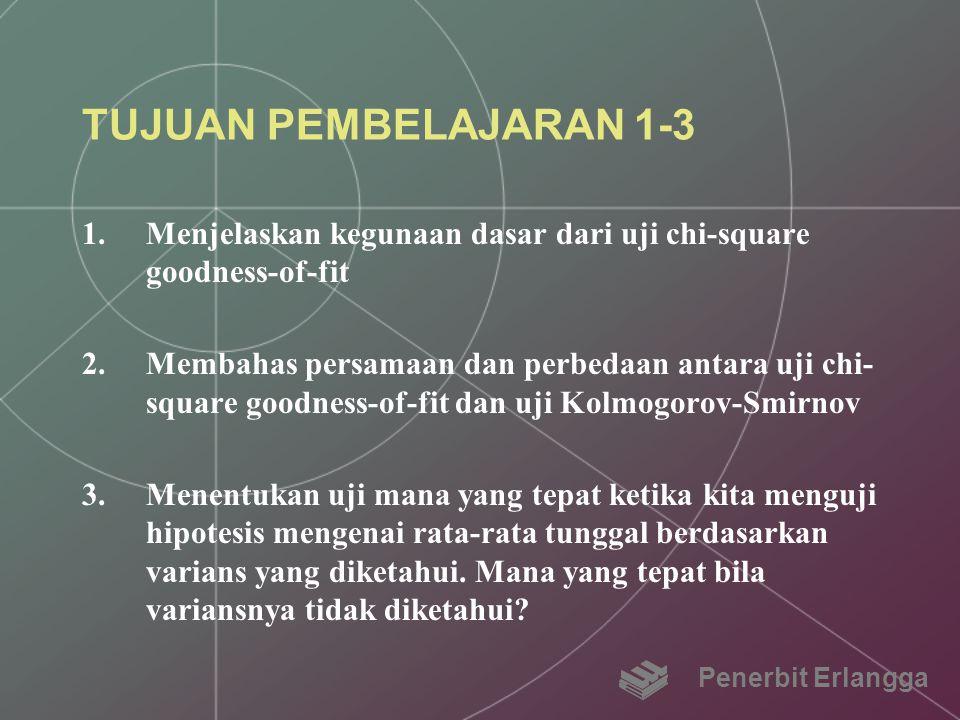 TUJUAN PEMBELAJARAN 1-3 1.Menjelaskan kegunaan dasar dari uji chi-square goodness-of-fit 2.Membahas persamaan dan perbedaan antara uji chi- square goo
