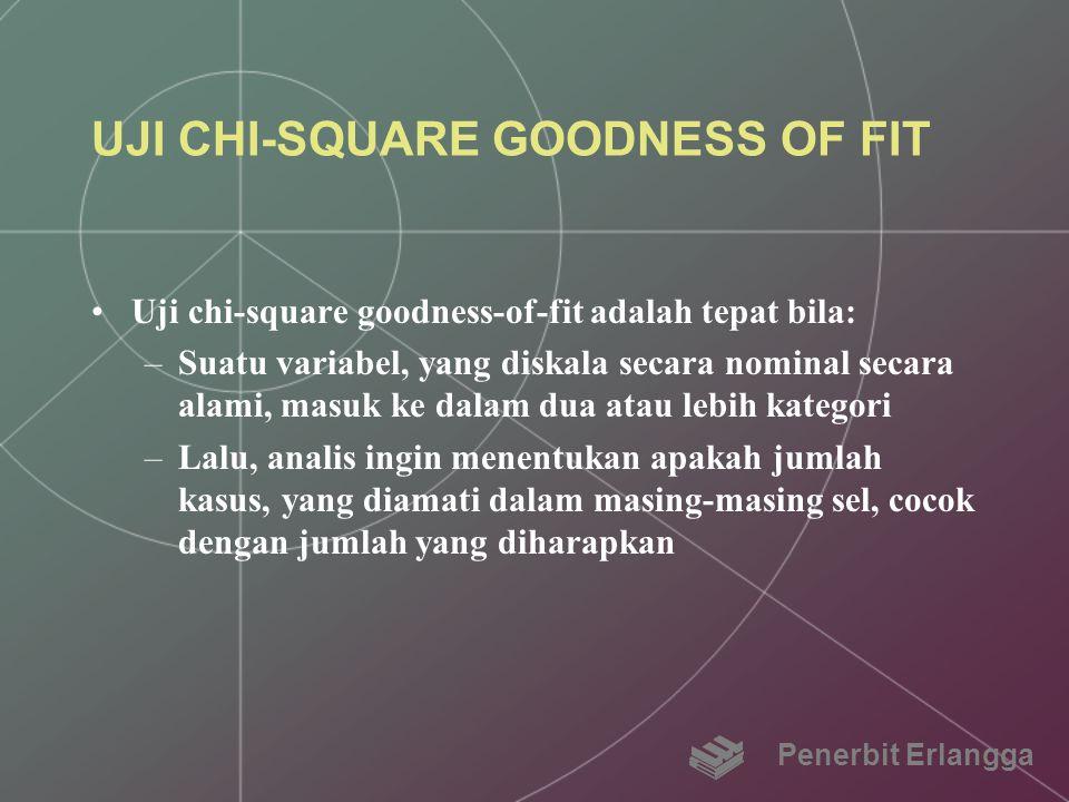 UJI CHI-SQUARE GOODNESS OF FIT Uji chi-square goodness-of-fit adalah tepat bila: –Suatu variabel, yang diskala secara nominal secara alami, masuk ke d