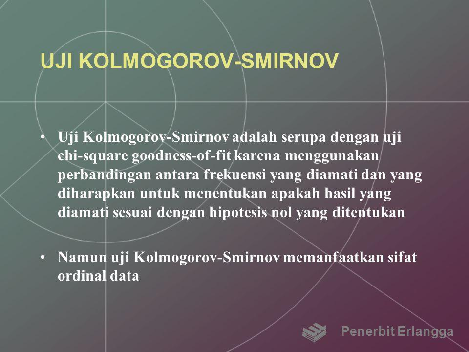 UJI KOLMOGOROV-SMIRNOV Uji Kolmogorov-Smirnov adalah serupa dengan uji chi-square goodness-of-fit karena menggunakan perbandingan antara frekuensi yan