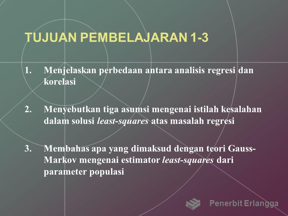 TUJUAN PEMBELAJARAN 1-3 1.Menjelaskan perbedaan antara analisis regresi dan korelasi 2.Menyebutkan tiga asumsi mengenai istilah kesalahan dalam solusi