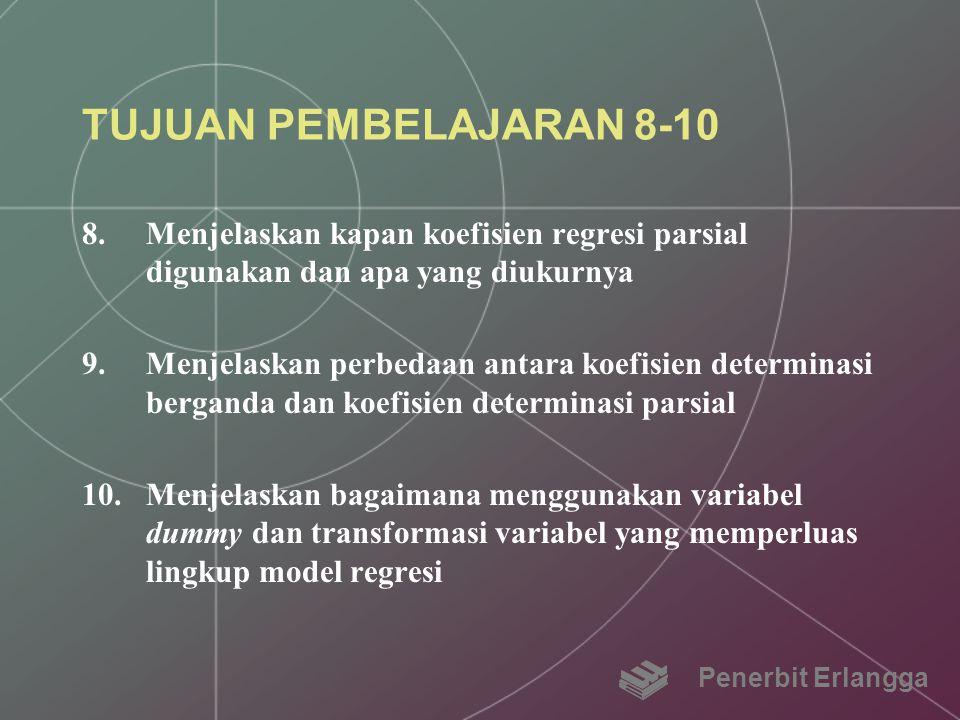 TUJUAN PEMBELAJARAN 8-10 8.Menjelaskan kapan koefisien regresi parsial digunakan dan apa yang diukurnya 9.Menjelaskan perbedaan antara koefisien deter