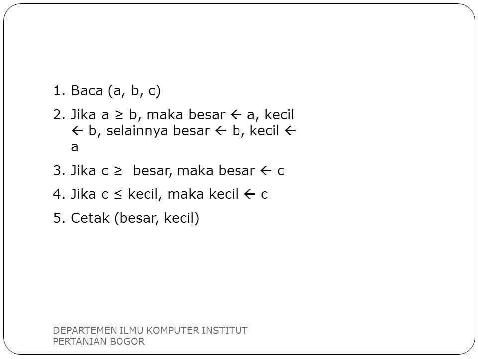 DEPARTEMEN ILMU KOMPUTER INSTITUT PERTANIAN BOGOR 1.Baca (a, b, c) 2.Jika a ≥ b, maka besar  a, kecil  b, selainnya besar  b, kecil  a 3.Jika c ≥