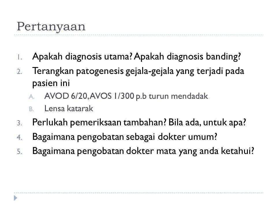 Pertanyaan 1. Apakah diagnosis utama? Apakah diagnosis banding? 2. Terangkan patogenesis gejala-gejala yang terjadi pada pasien ini A. AVOD 6/20, AVOS