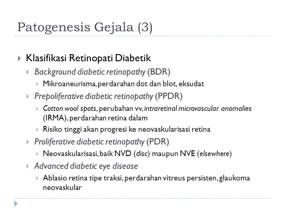 Patogenesis Gejala (3)  Klasifikasi Retinopati Diabetik  Background diabetic retinopathy (BDR)  Mikroaneurisma, perdarahan dot dan blot, eksudat 