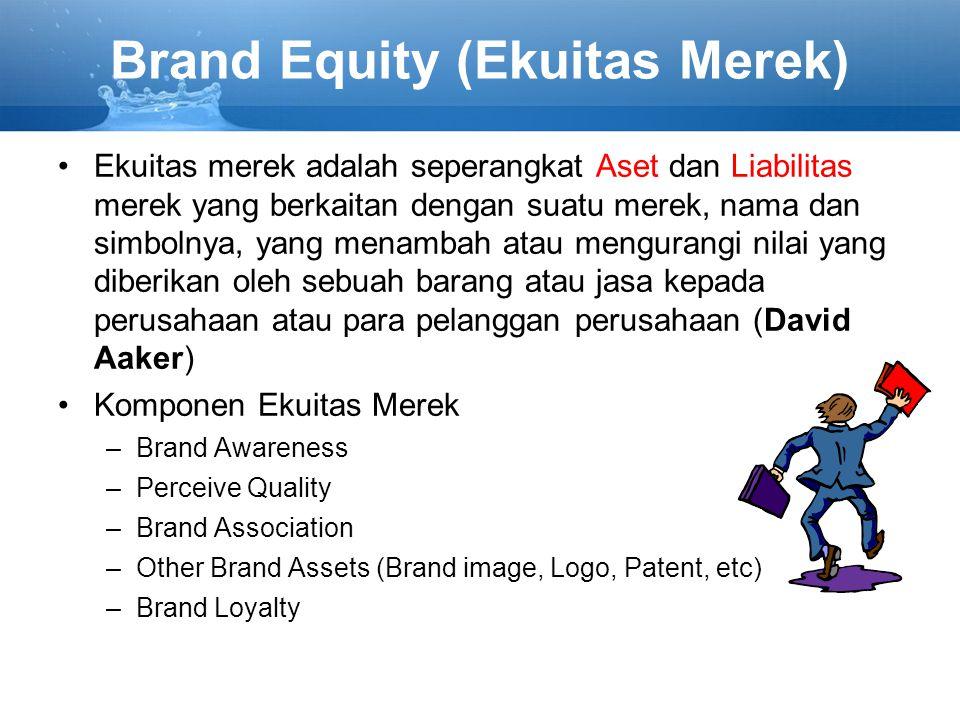 Brand Equity (Ekuitas Merek) Ekuitas merek adalah seperangkat Aset dan Liabilitas merek yang berkaitan dengan suatu merek, nama dan simbolnya, yang menambah atau mengurangi nilai yang diberikan oleh sebuah barang atau jasa kepada perusahaan atau para pelanggan perusahaan (David Aaker) Komponen Ekuitas Merek –Brand Awareness –Perceive Quality –Brand Association –Other Brand Assets (Brand image, Logo, Patent, etc) –Brand Loyalty
