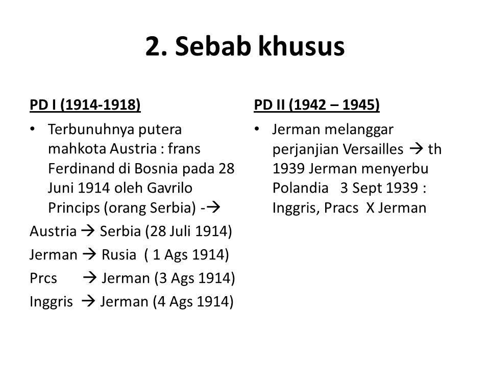 2. Sebab khusus PD I (1914-1918) Terbunuhnya putera mahkota Austria : frans Ferdinand di Bosnia pada 28 Juni 1914 oleh Gavrilo Princips (orang Serbia)