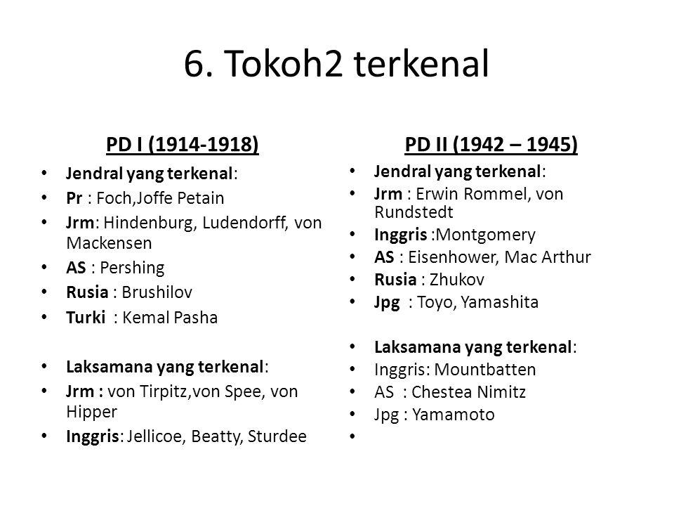 6. Tokoh2 terkenal PD I (1914-1918) Jendral yang terkenal: Pr : Foch,Joffe Petain Jrm: Hindenburg, Ludendorff, von Mackensen AS : Pershing Rusia : Bru