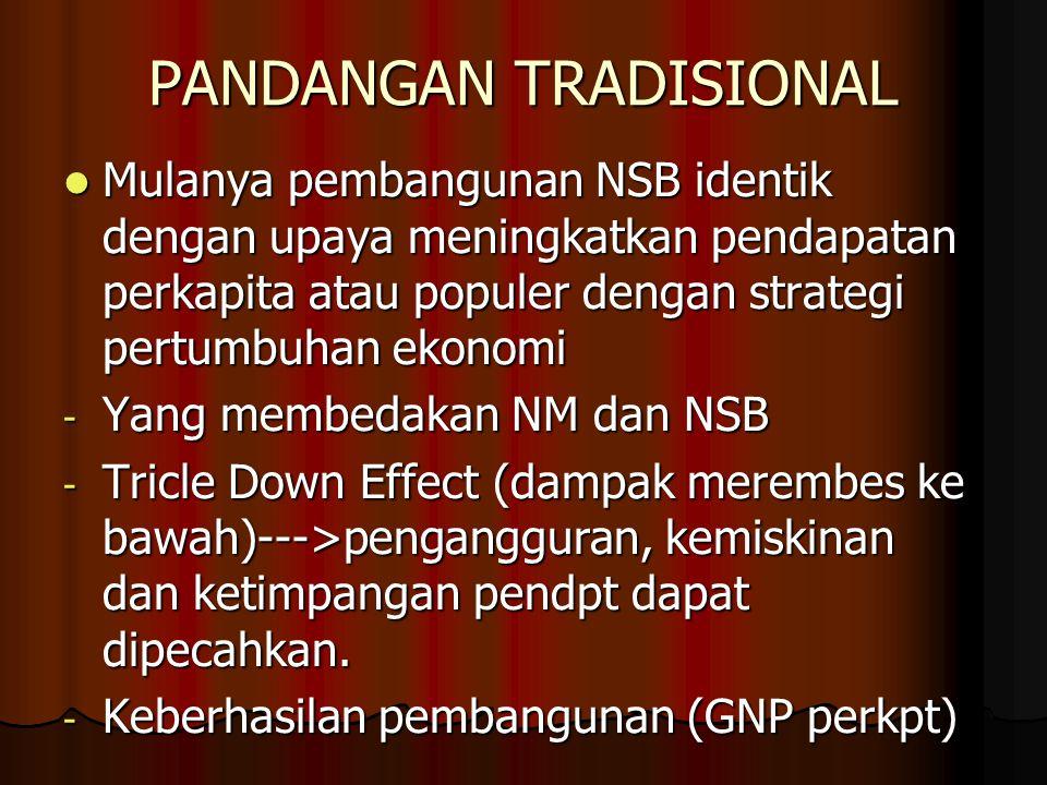 PANDANGAN TRADISIONAL Mulanya pembangunan NSB identik dengan upaya meningkatkan pendapatan perkapita atau populer dengan strategi pertumbuhan ekonomi Mulanya pembangunan NSB identik dengan upaya meningkatkan pendapatan perkapita atau populer dengan strategi pertumbuhan ekonomi - Yang membedakan NM dan NSB - Tricle Down Effect (dampak merembes ke bawah)--->pengangguran, kemiskinan dan ketimpangan pendpt dapat dipecahkan.