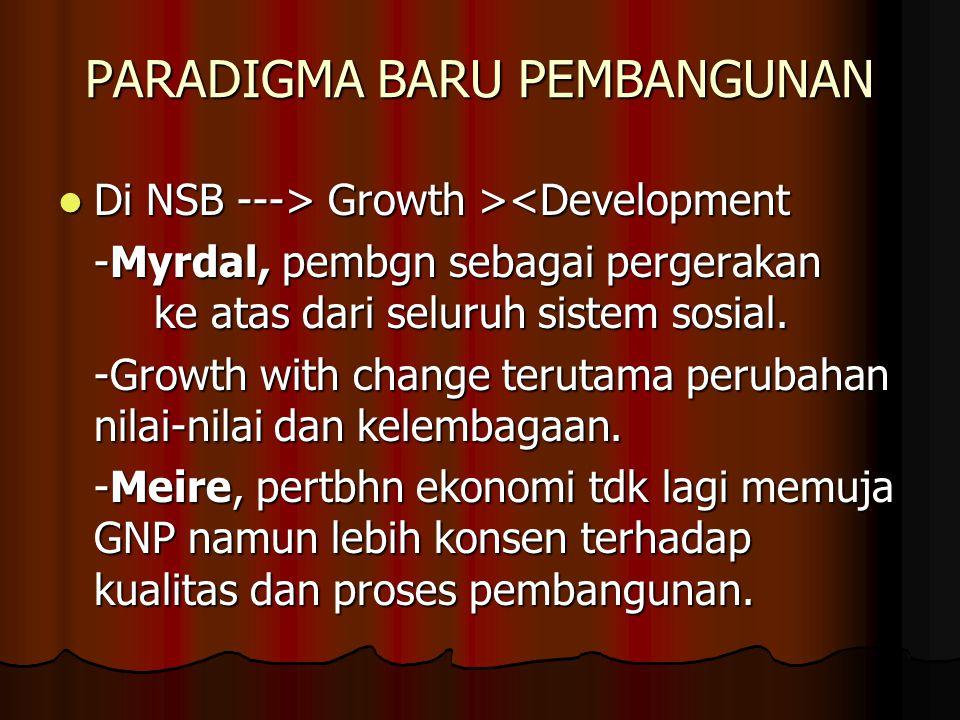 PARADIGMA BARU PEMBANGUNAN Di NSB ---> Growth > Growth ><Development -Myrdal, pembgn sebagai pergerakan ke atas dari seluruh sistem sosial.