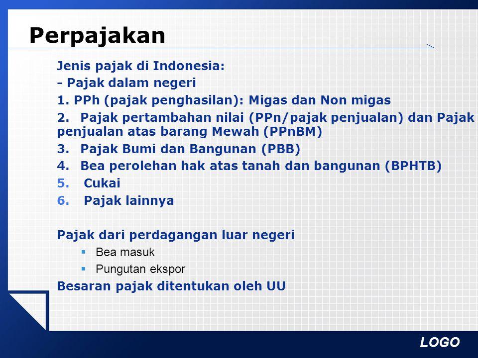 LOGO Perpajakan Jenis pajak di Indonesia: - Pajak dalam negeri 1. PPh (pajak penghasilan): Migas dan Non migas 2.Pajak pertambahan nilai (PPn/pajak pe