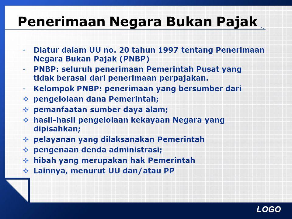LOGO Penerimaan Negara Bukan Pajak -Diatur dalam UU no. 20 tahun 1997 tentang Penerimaan Negara Bukan Pajak (PNBP) -PNBP: seluruh penerimaan Pemerinta