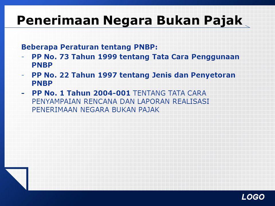 LOGO Penerimaan Negara Bukan Pajak Beberapa Peraturan tentang PNBP: -PP No. 73 Tahun 1999 tentang Tata Cara Penggunaan PNBP -PP No. 22 Tahun 1997 tent
