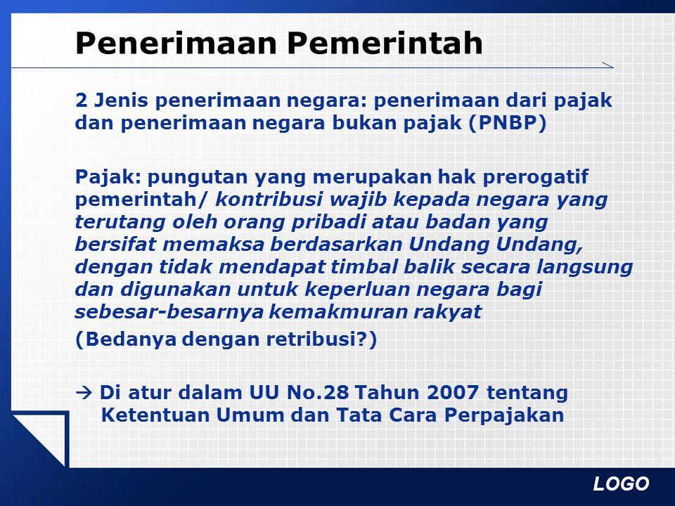 LOGO Perpajakan Pajak NegaraPajak Negara: dipungut Pempus  Pajak Penghasilan: UU Nomor 36 Tahun 2008 Pajak Penghasilan  Pajak Pertambahan Nilai dan Pajak Penjualan atas Barang Mewah: UU No.
