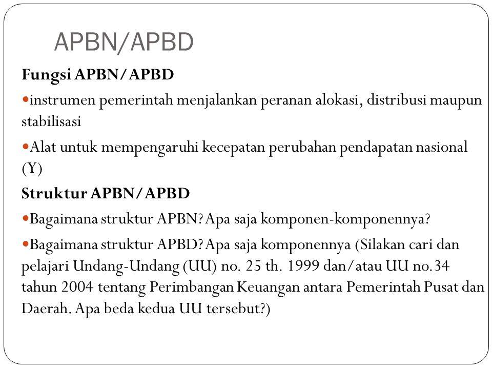 APBN/APBD Fungsi APBN/APBD instrumen pemerintah menjalankan peranan alokasi, distribusi maupun stabilisasi Alat untuk mempengaruhi kecepatan perubahan pendapatan nasional (Y) Struktur APBN/APBD Bagaimana struktur APBN.